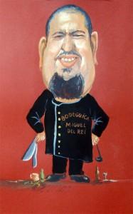 Caricatura Chef-Miguel del Rei. Gouache