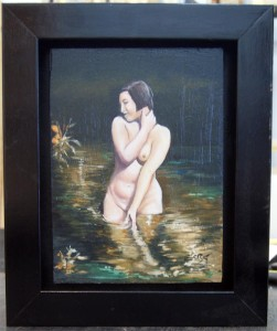 Desnudo en el estanque.Oleo/Tabla. Tamaño completo con moldura. 40x30 cm. 100,00. €
