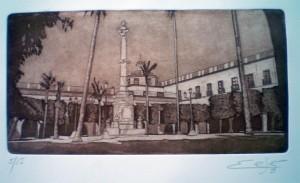 Plaza Ayuntamiento Almeria. Grabado. Aguatinta. 2013. 57x39 cm. No incluye moldura. Precio 45,00. €